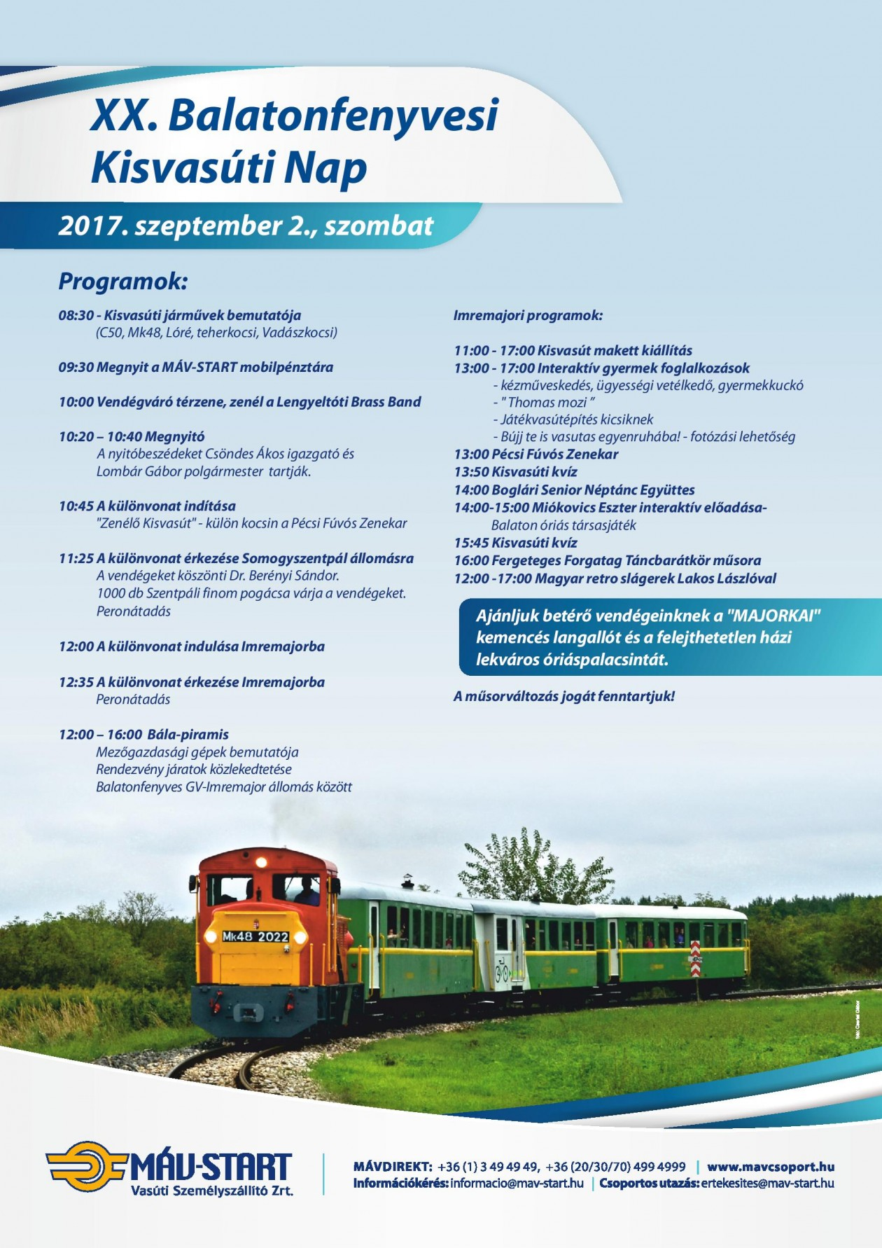 Balatonfenyvesi kisvasúti nap programja 2017